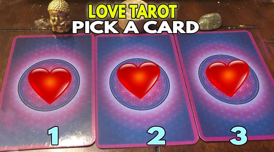 Tarot card love, a card is waiting to reveal something to you
